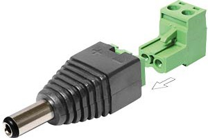 DC 2,1 x 5,5 mm Stecker > Terminalblock 2 Pin /2T